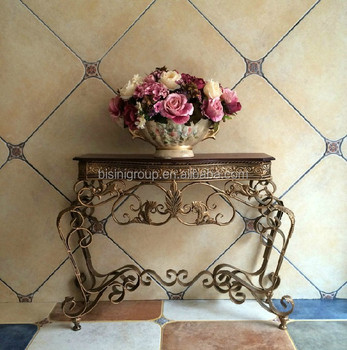 vantage wrought iron console table solid wood table top bf10m554