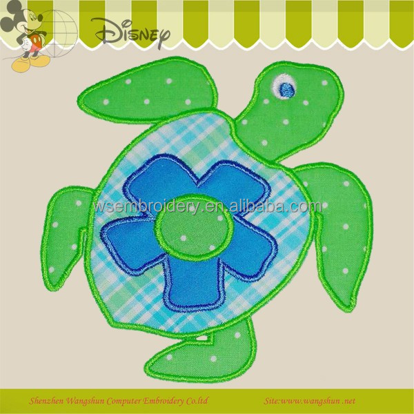 Lovely See Turtle Logo Applique Embroidery for Kids Accessories