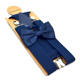 Navy men's suspender bow tie set unisex thickly belt 4 clips 3.5 cm width 120 cm length popular trouser brace tie cheap set