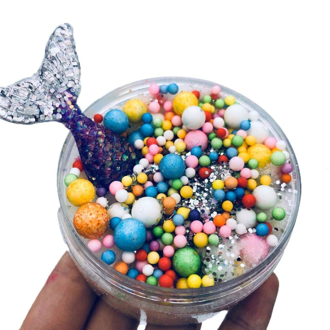 Drfoytg Colorful Crystal Clay Toy,Stress Reliever Toys Slime Squeeze Toy Whale Squishy Scented Kid Education (C)
