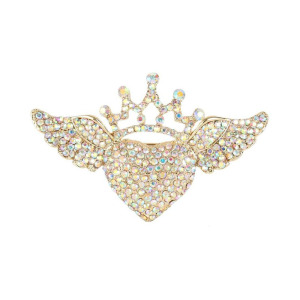 Fashion 76mm Heart Angel Wing Crown Brooch With Iridescent Clear AB Crystal