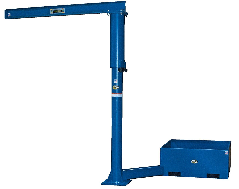 """Vestil JIB-CBX-50-10-10 Steel Jib Crane with Offset Base, Usable I-Bean Length 108"""", I-Beam Flange Width 4"""", Base 42-3/16"""" x 42-3/16"""", Rotation 360 degree, 24"""" on Center 7-1/2"""" x 2-1/2"""" Fork Tubes"""