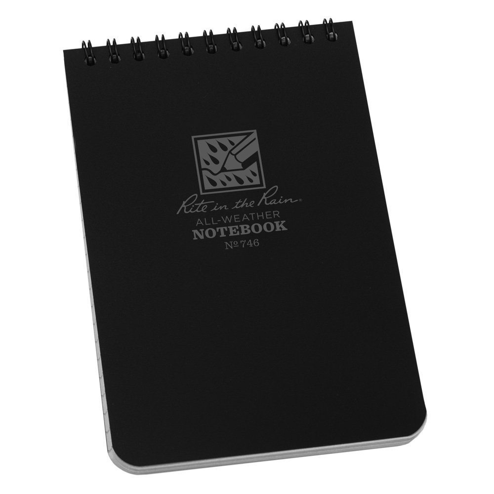 "Rite in the Rain All-Weather Top-Spiral Notebook, 4"" x 6"", Black Cover, Universal Pattern (No. 746)"