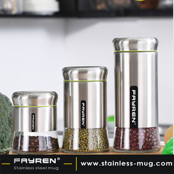 Wholesale Kitchen Stainless Steel Glass Food Storage Container Candy