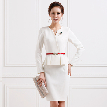 Professional Business Womens White 2pc Long Sleeves Skirt Suit