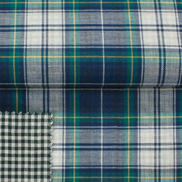 STOCK 100% combed cotton, plaid dobble face fabric