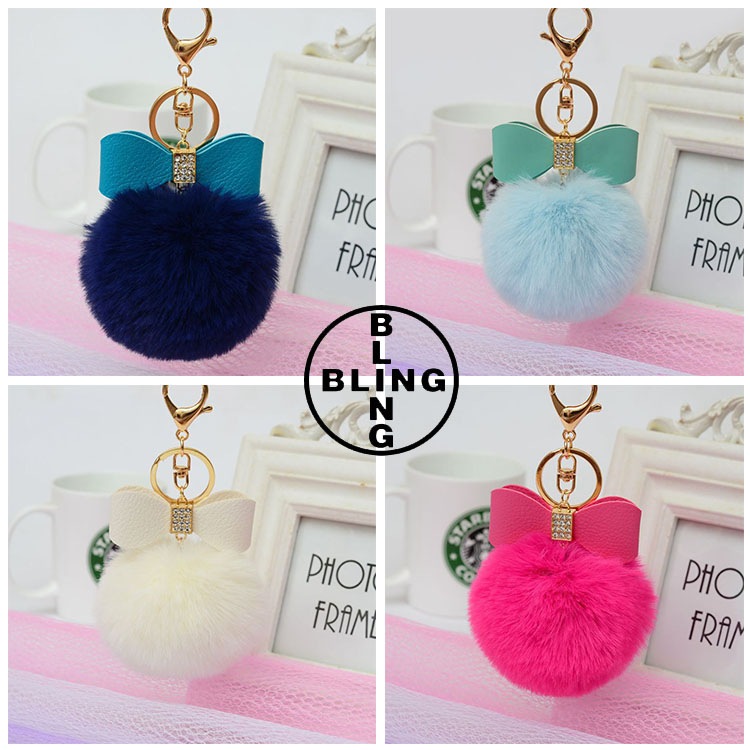 >>>Gold Plated Keychain with Plush Hair Cute Rabbit Fur Furry PU Leather Bow Bowknot Key Chain for Car Key Ring or Bags/