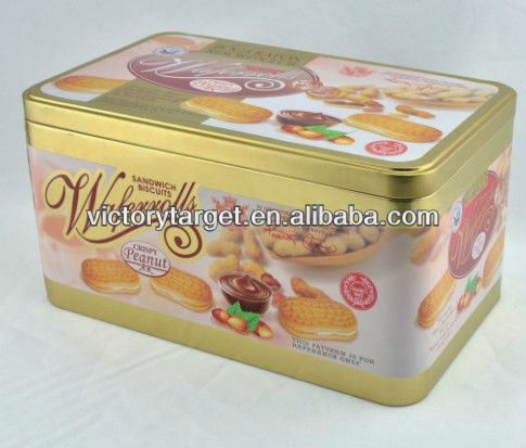 cookies rectangular tin box canister/coffee tin cans in packaging/tea tin case