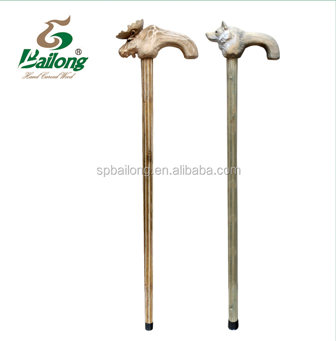 carved outdoor animal handle wooden walk cane