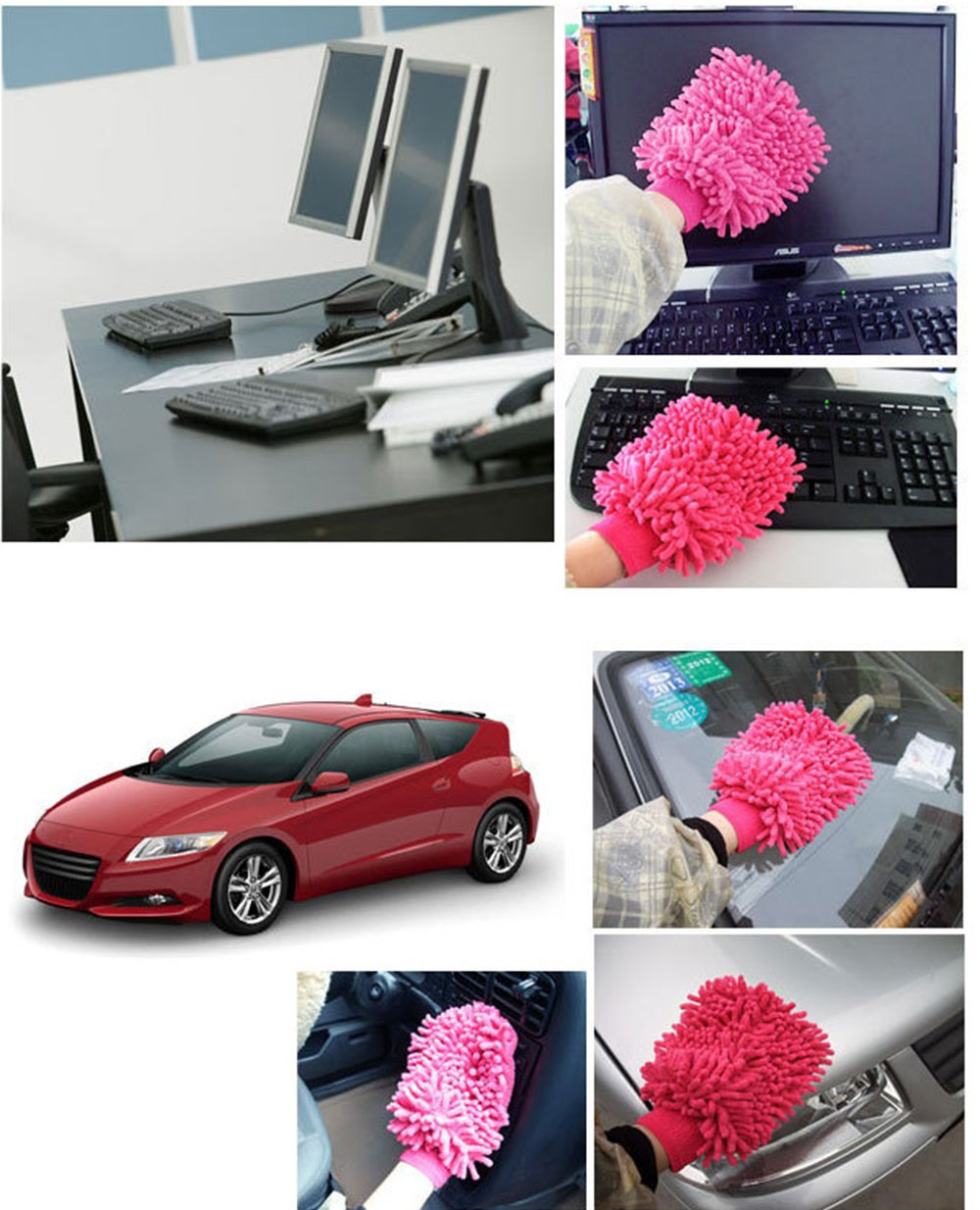 Microfiber Cloth Glove Price: Quality 2 Units Double Sided Microfiber Car Cleaning Cloth