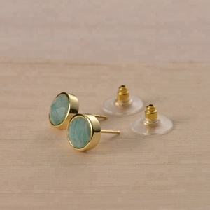 Faceted Brazil Amazonite Brass Stud Earrings