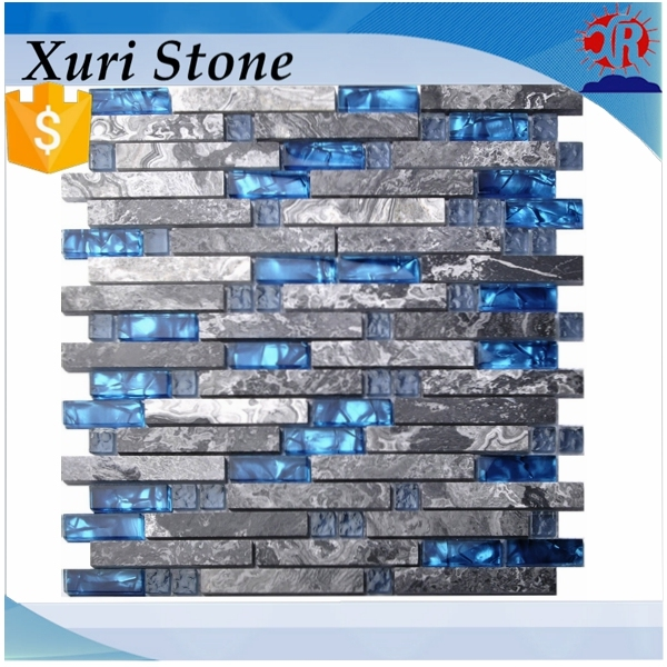 Home Building Glass Tile Kitchen Backsplash Idea Bath Shower Wall Decor  Blue Gray Wave Marble Interlocking
