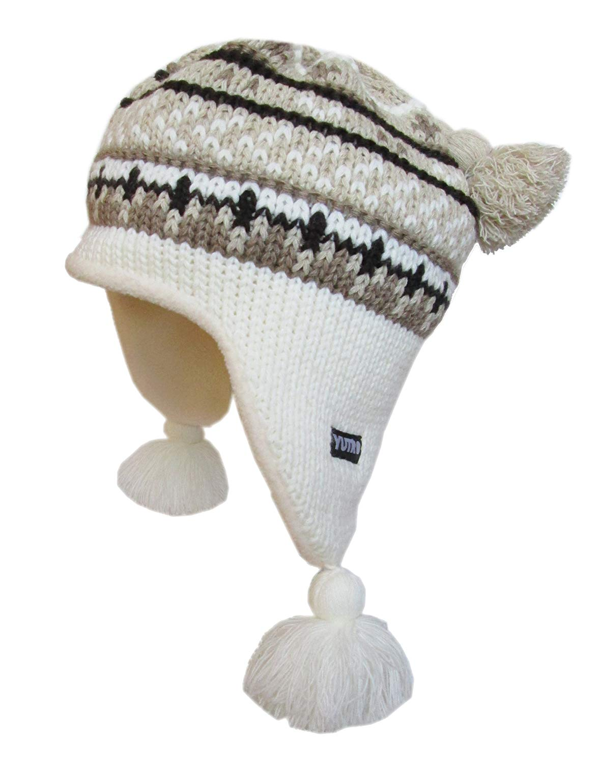 f6177e61d00 Get Quotations · YUTRO Wool Knitted Ear Flap Ski Beanie Hat with Fleece  Lining One Size
