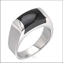 SJ R110018 Unique Design 316L Stainless Steel Pave Black Agate Men Band Ring