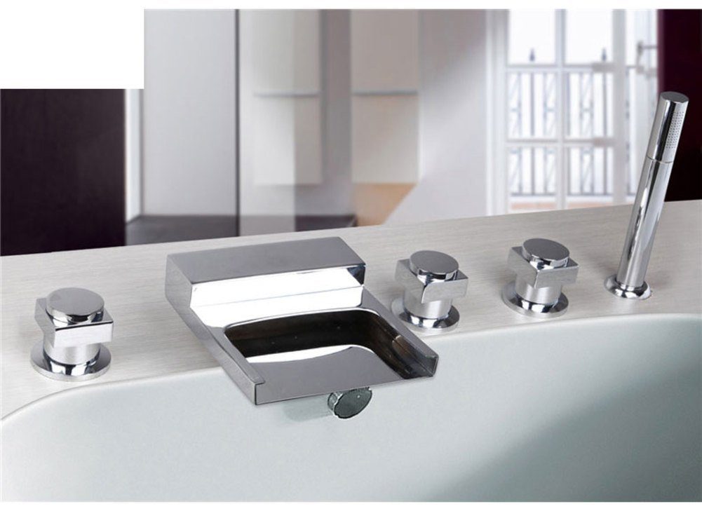 split-hot and cold faucet/Bathtub faucets with five piece of cover/Five-hole faucet hot and cold waterfall showerhead-E
