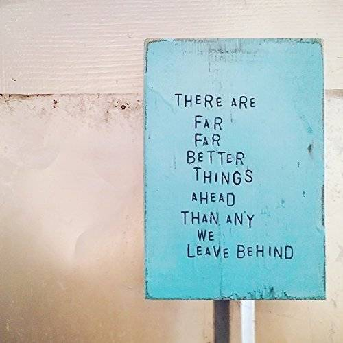 WiLDWoRDS - beautiful words on wood - CS Lewis - THeRe aRe FaR FaR BeTTeR THiNGS aHeaD THaN aNY We LeaVe BeHiND - Solid wood art / art block - painted & distressed wall art