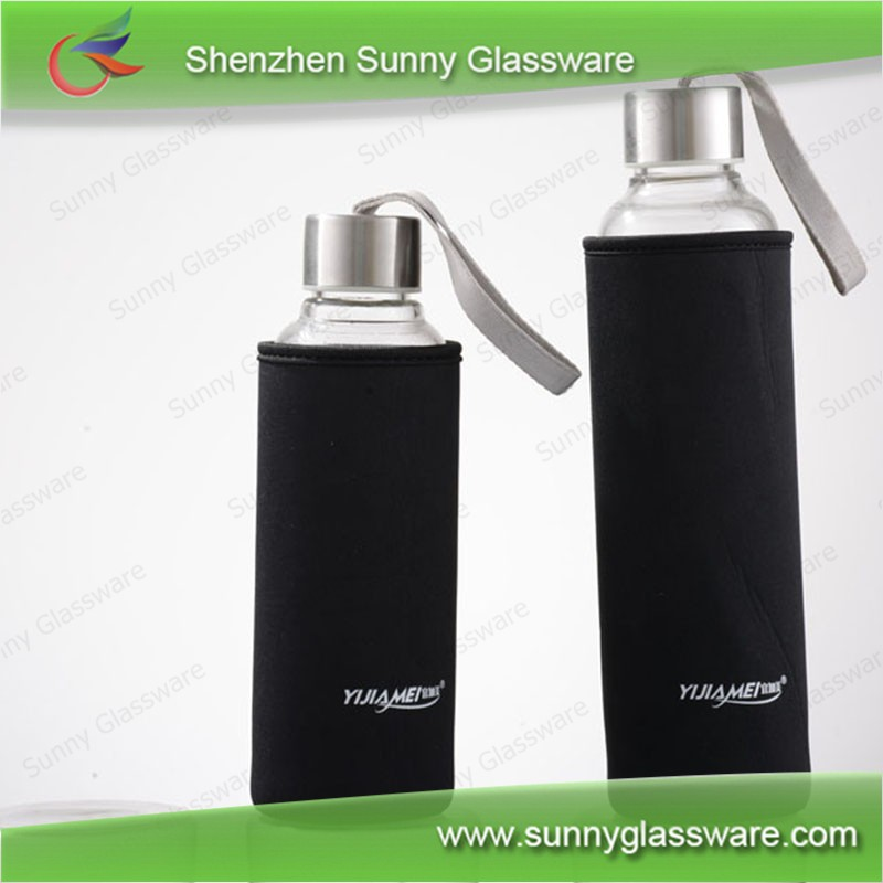 300ml 500ml single wall glass water bottle with lid