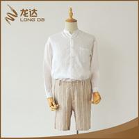 Longda fashion cotton linen yarn dyed stripes casual mens summer shorts