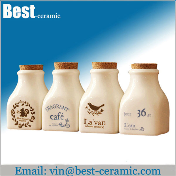 white ceramic milk bottle with lid