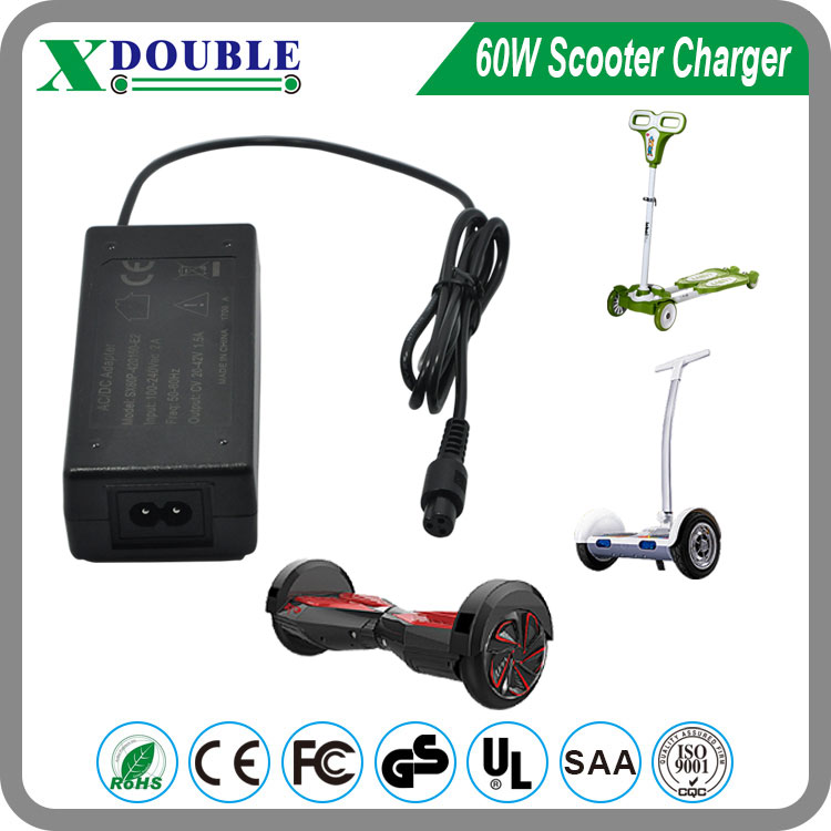 60W Scooter Board Adapter 42V 1.5A for Electric Scooter Hoverboard Charger