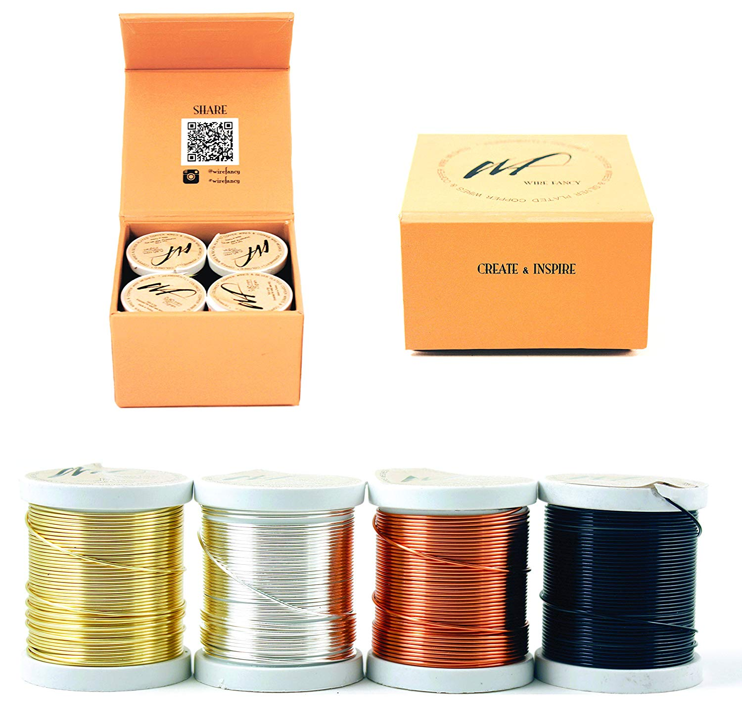 Silver-Plated Copper and Copper Craft Wire Set of 4 Spools (WF Color Set 1, 0.80 mm)