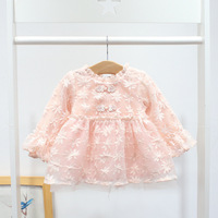 2019 Ins Chinese Style Children Clothes Fashion Embroidery Newborn Dress Pink Baby Vestidos Party Little Girl Princess Dress