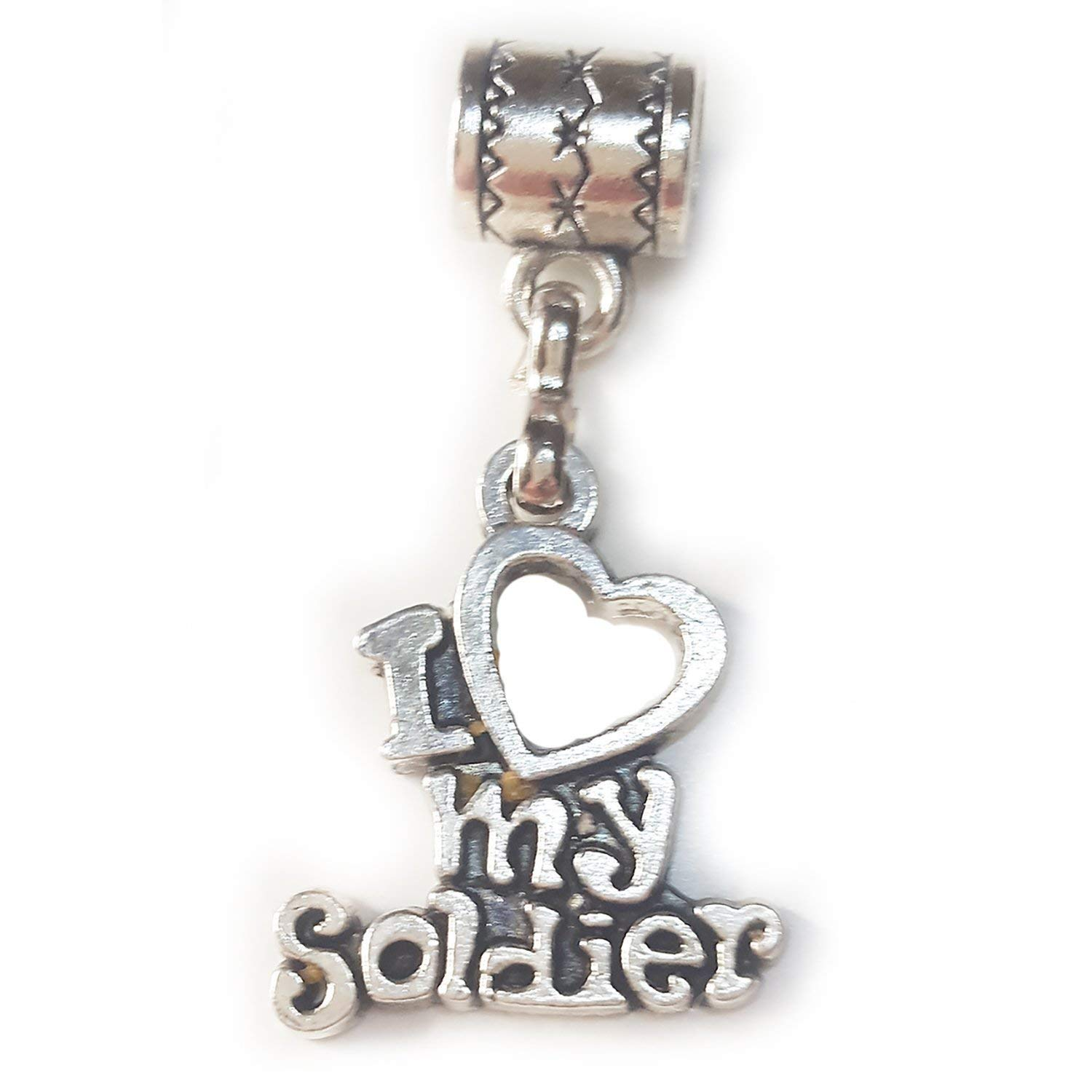 """I Love My Soldier charm"" is a Tibetan silver charm by Mossy Cabin for modern large hole snake chain charm bracelets, or add to a neck chain, pendant necklace or key chain"