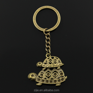 Fashion 30mm Key Ring Metal Key Chain Keychain Jewelry Antique bronze Plated mother son tortoise turtle 35*41mm Pendant