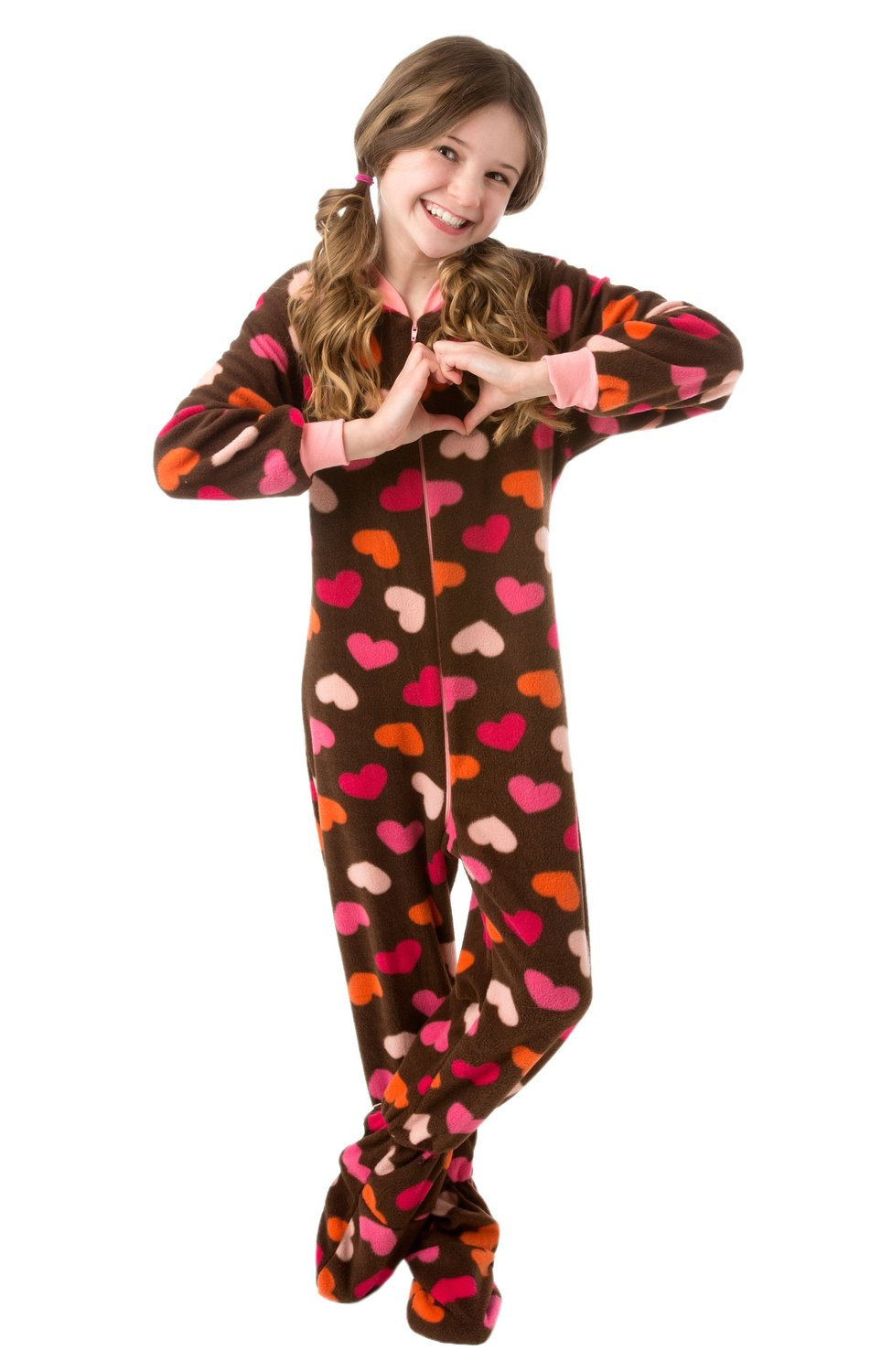 d27c11ed4b24 Get Quotations · Big Feet Pjs Kids Footed Onesie Chocolate Brown with  Hearts Footed Pajamas