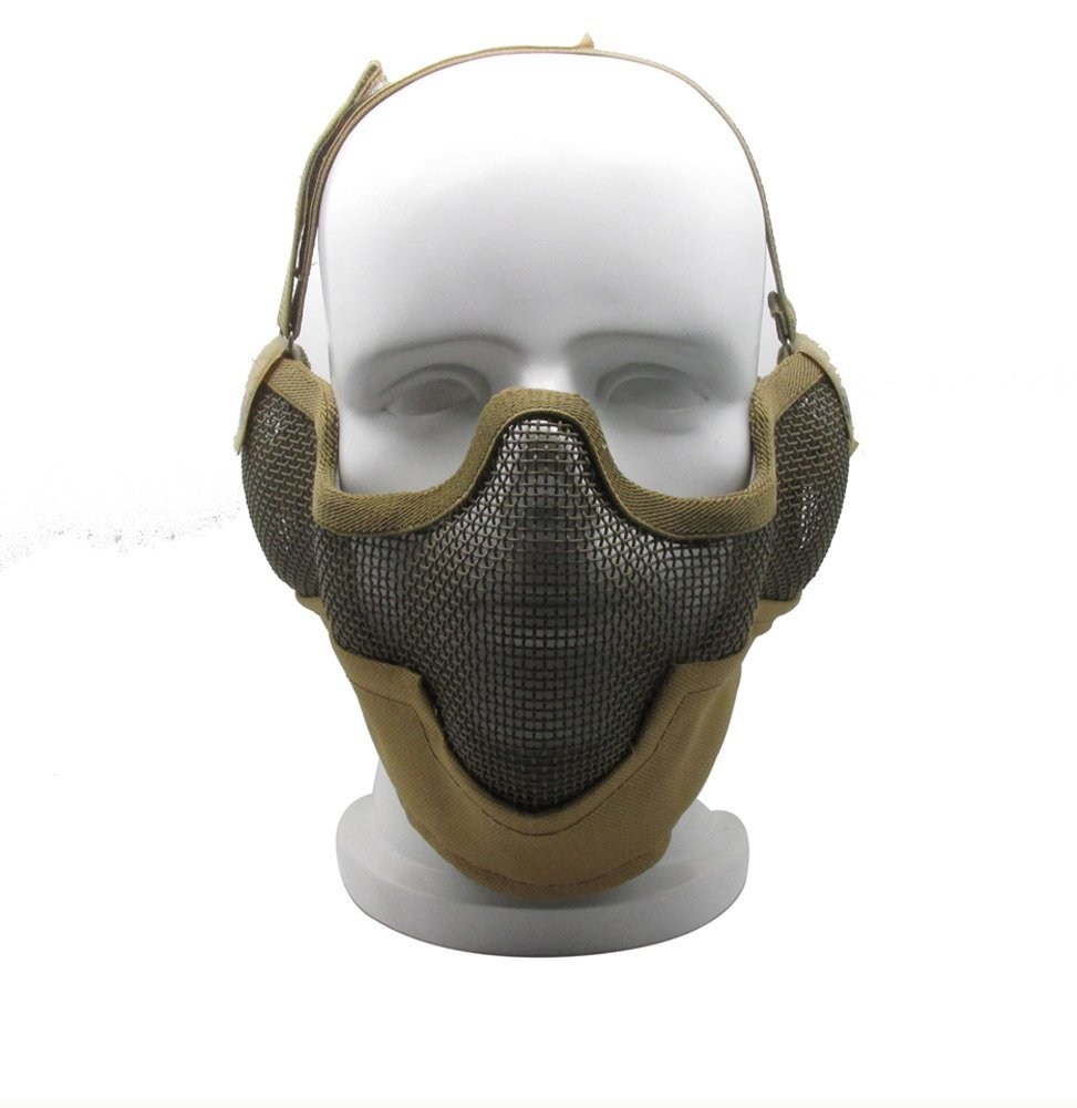 YYGIFT Half Face Tactical Steel Wire Mesh Protective Mask Military Style Camouflage CS Mask for Airsoft Outdoor Tactical Training Riding Hunting