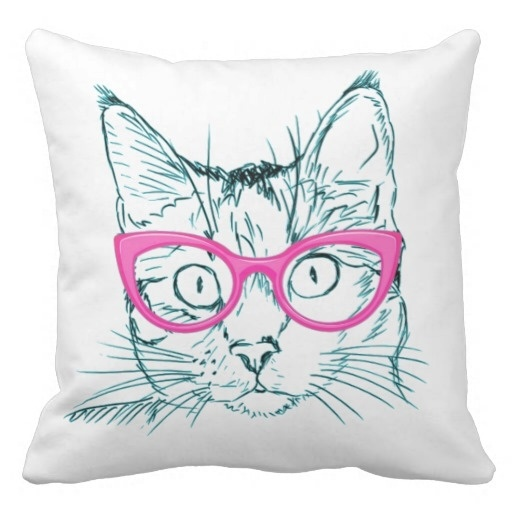 Pillow Cases Hipster Cat Pillow Case (Size: 20