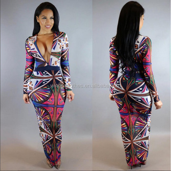 Womens Jumpsuits Sexy Bodycon Sexy Ladies Long Sleeve V Neck African