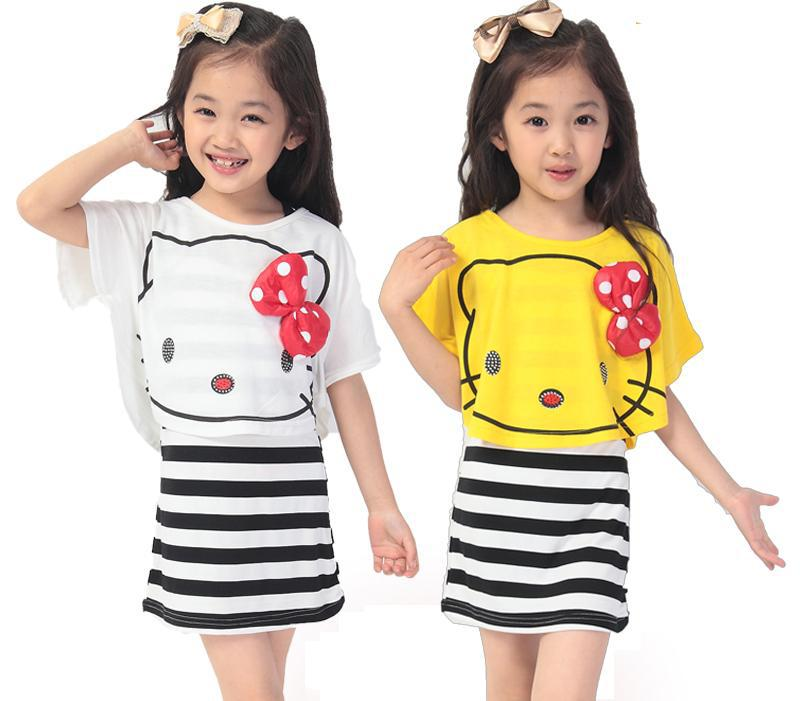 Summer Style baby girls 2pcs Clothing Set 2015 Cloak/batwing vest + striped short sleeved dress Kids/Children Suit