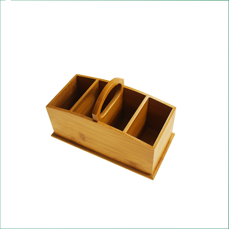 Portable Bamboo Office Desk Organizer With Handle