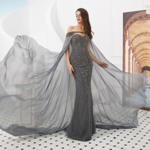 ASA80307 New 2019 dark grey formal dress with Long Cloak Heavy Beading Luxury abendkleid Evening Dress