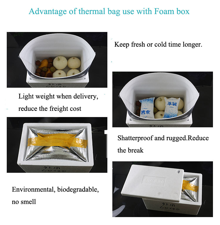 heating insulation bag for food packaging boxes liners with aluminum foil foam lined bags Keep Cold Insulated Box pouches bag