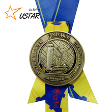 High Quality Custom Marathon Finisher Gold Award Medal No Minimum Order