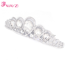 WAYZI brand custom color headpiece for wedding crystal headband queen bridal wedding tiara crown