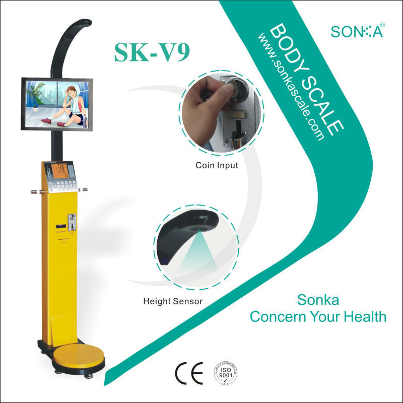 Best Selling Products Medical Body Analysis Machine SK-V9 19inch Advertising Screen Measuring Weight Height BMI Fat