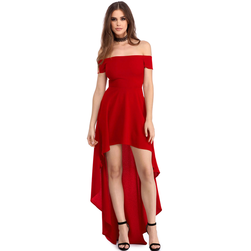 Top Sell Sexy Red High Low Hem Off Shoulder Party Cocktail Dress ...