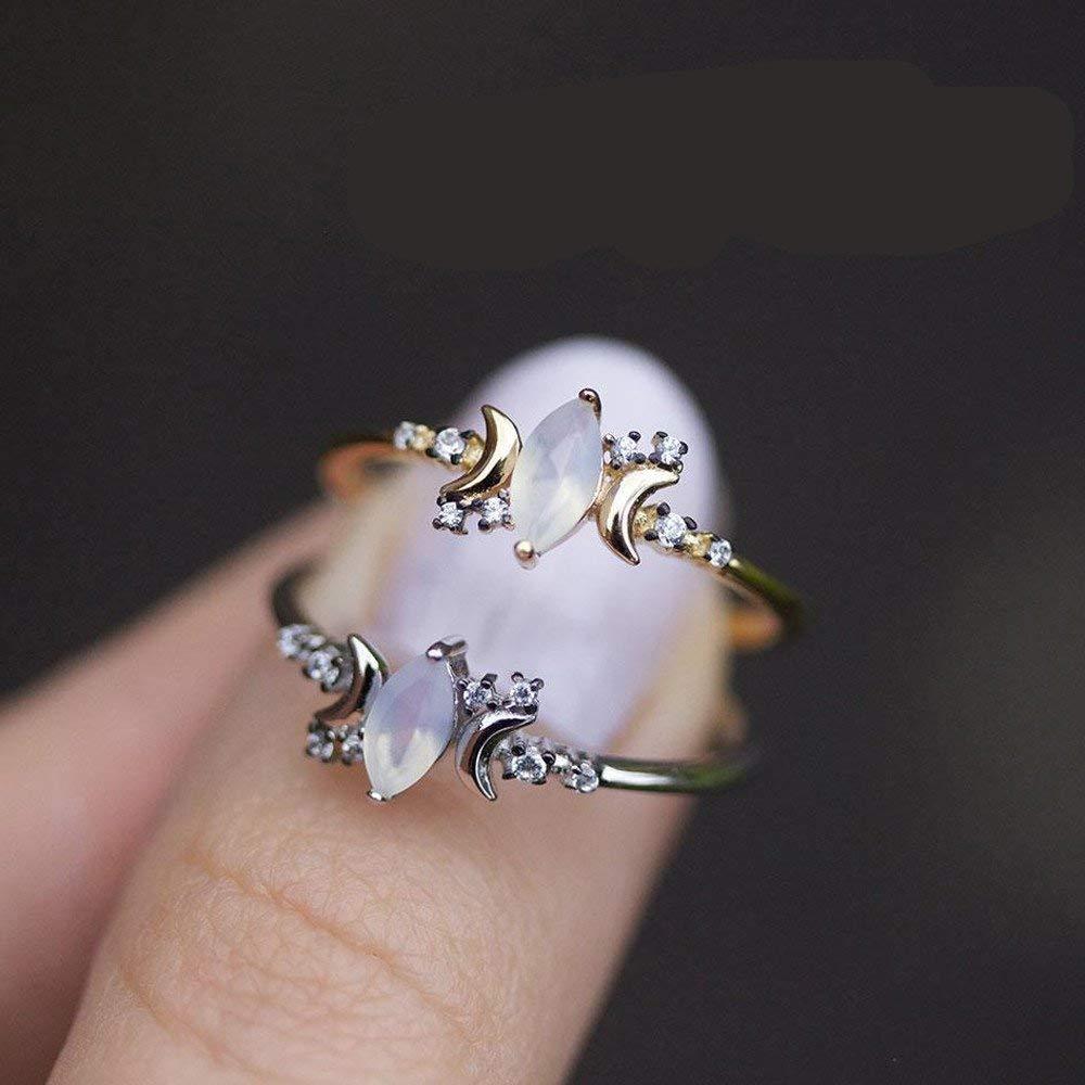 Fashion Ring, Hoshell Chic Women Moon White Opal Wedding Engagament Band Ring (10, Silver)