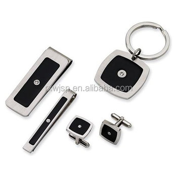 702fef47c9 316L stainless steel Infinity key Ring Earrings money clip cufflink tie clip  jewelry Set With Chain