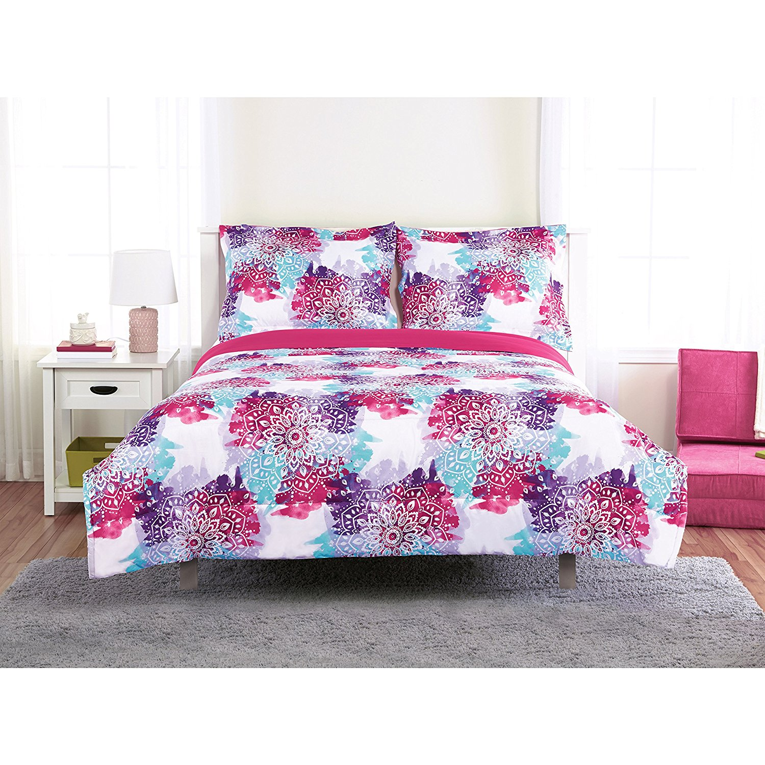 Unkk 3 Piece Girls White Blue Purple Pink Mandala Themed Comforter Full Size Set, Vibrant Boho Chic Medallion Motif Bedding, Bright Intricate Bohemian Floral Flower Pattern, Polyester