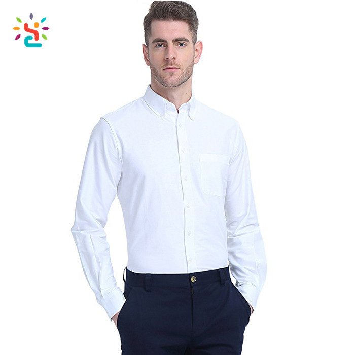 Personaliseer witte jurk shirt geen logo mens slim fit overhemden Business mens overhemd met stand up kraag