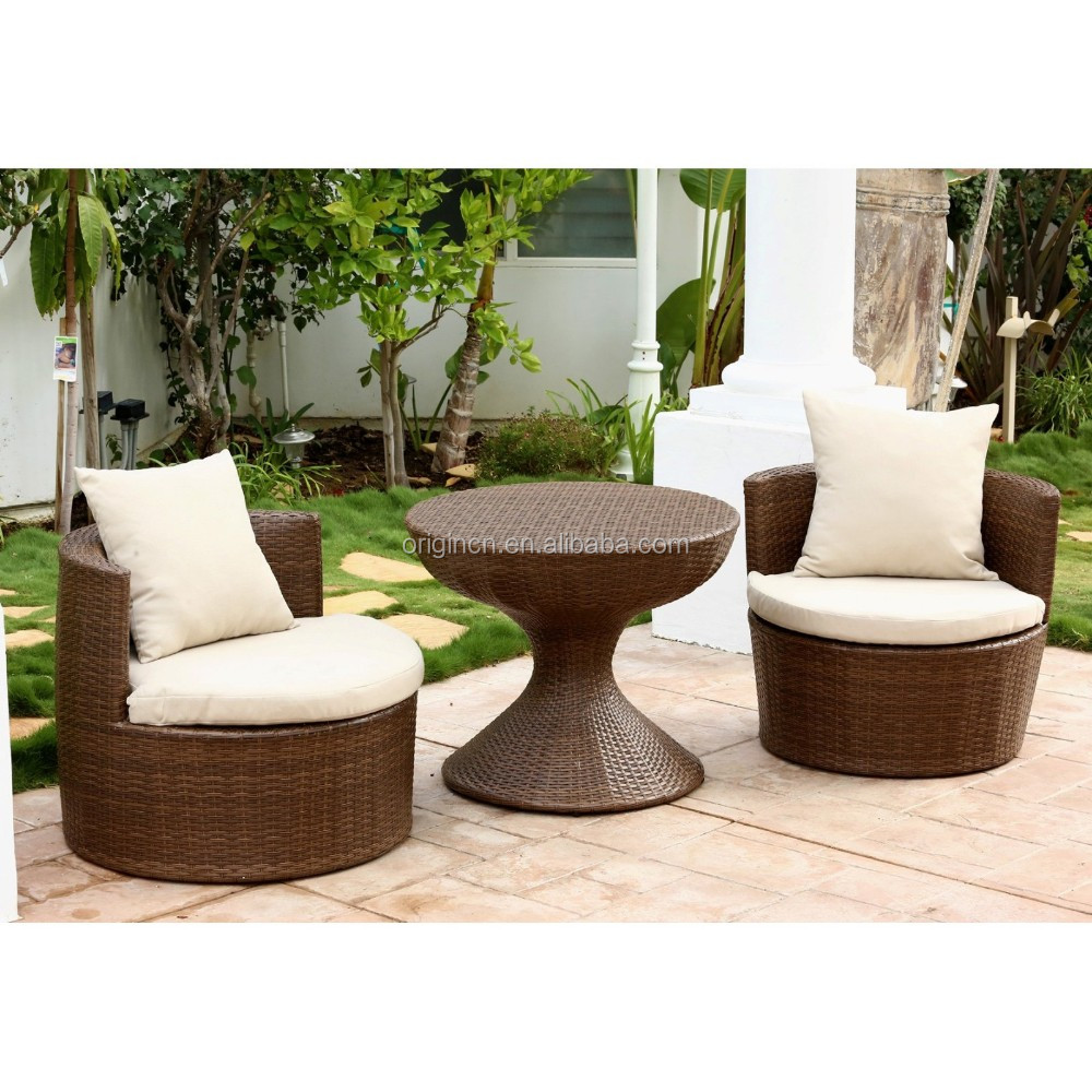 Round Tub Design Home Used Terrace Leisure Outdoor Chat Furniture Bar Table And Wicker Chairs