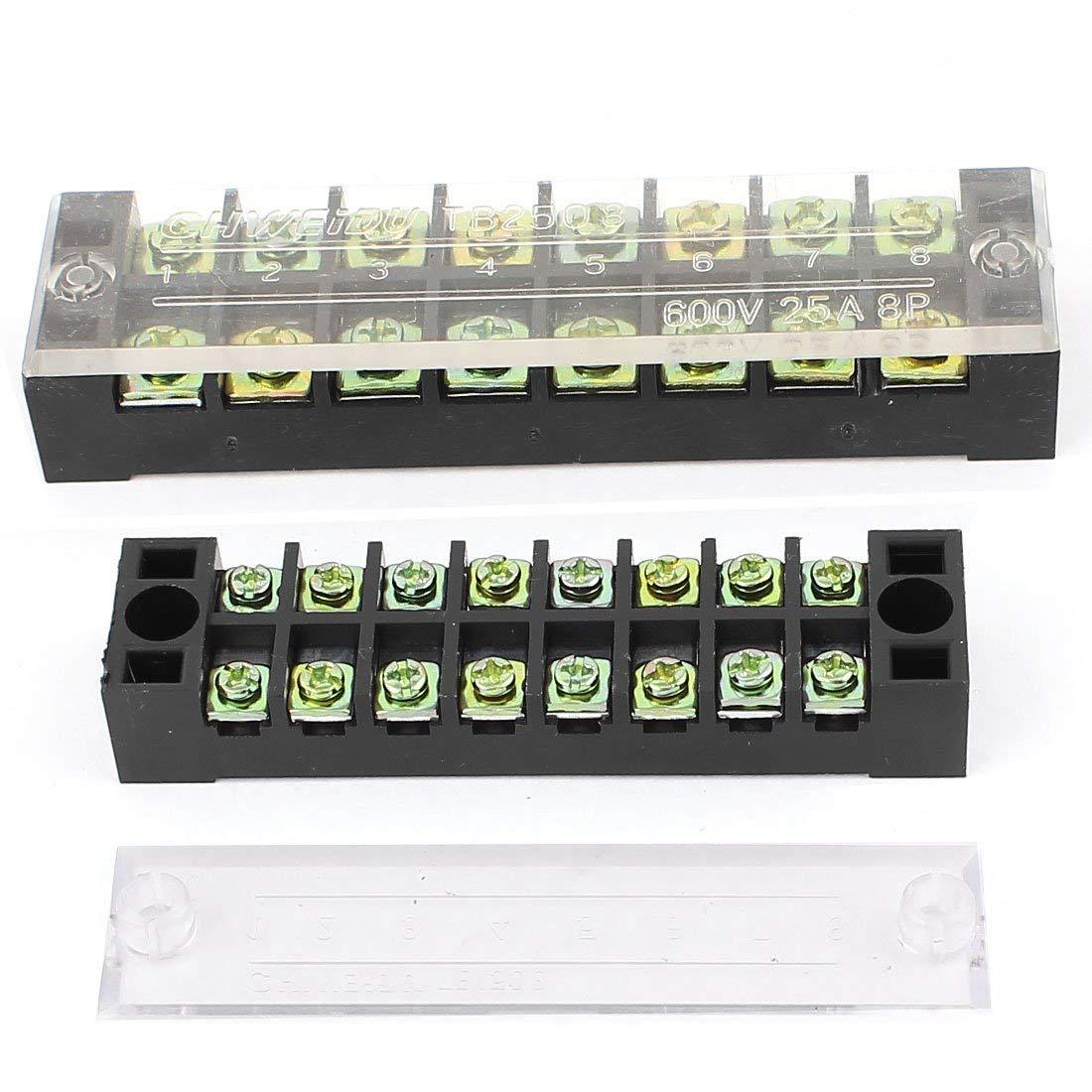 Aexit 2Pcs 600V 15A/25A Dual Row 8 Position Barrier Terminal Strip Block Set