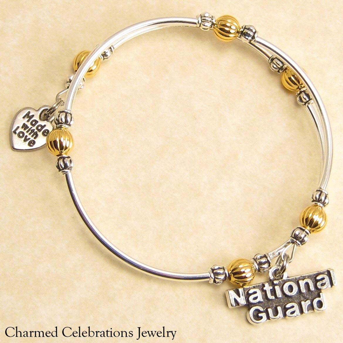 3c9509778 Get Quotations · National Guard Wrap Bracelet Handmade Themed Charm Bracelet  Jewelry Gift. Gold, Silver or Black
