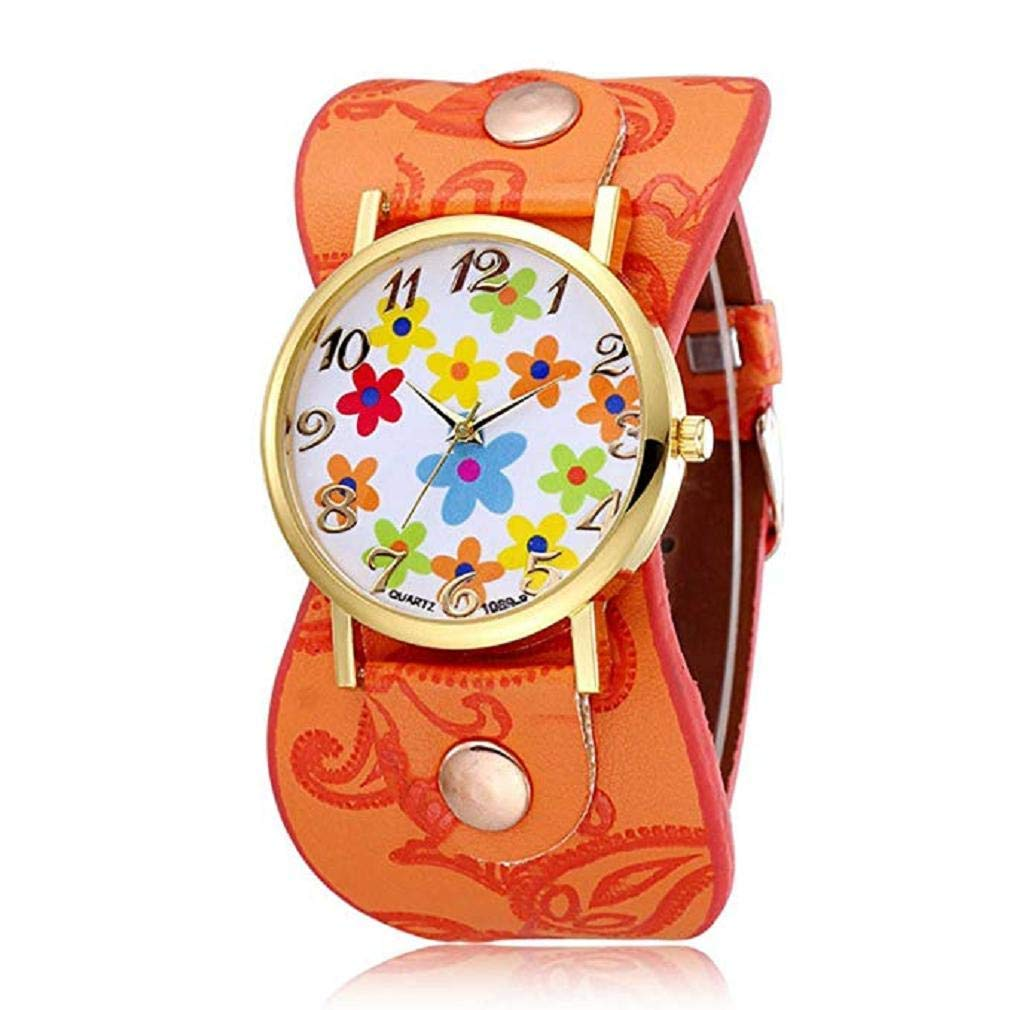 Womens Flower Watches, Windoson Unique Analog Fashion Clearance Lady Watches Female Watches Casual Wrist Watches for Women,Round Dial Case Comfortable PU Leather Watch (Orange)