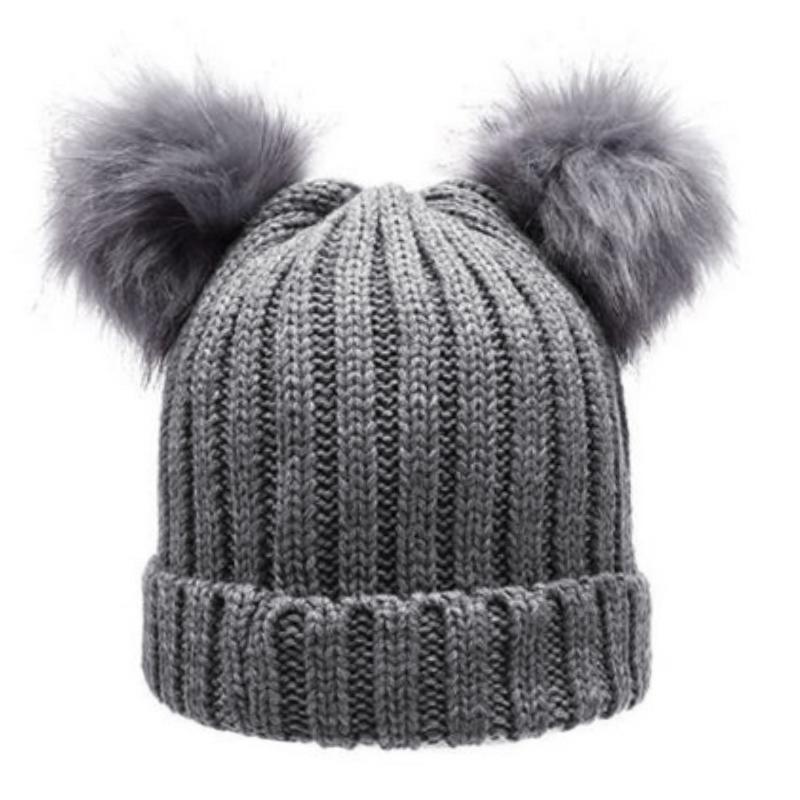 Women S Winter Chunky Knit Double Pom Pom Beanie Faux Fur Hat Women ... 18652a0610