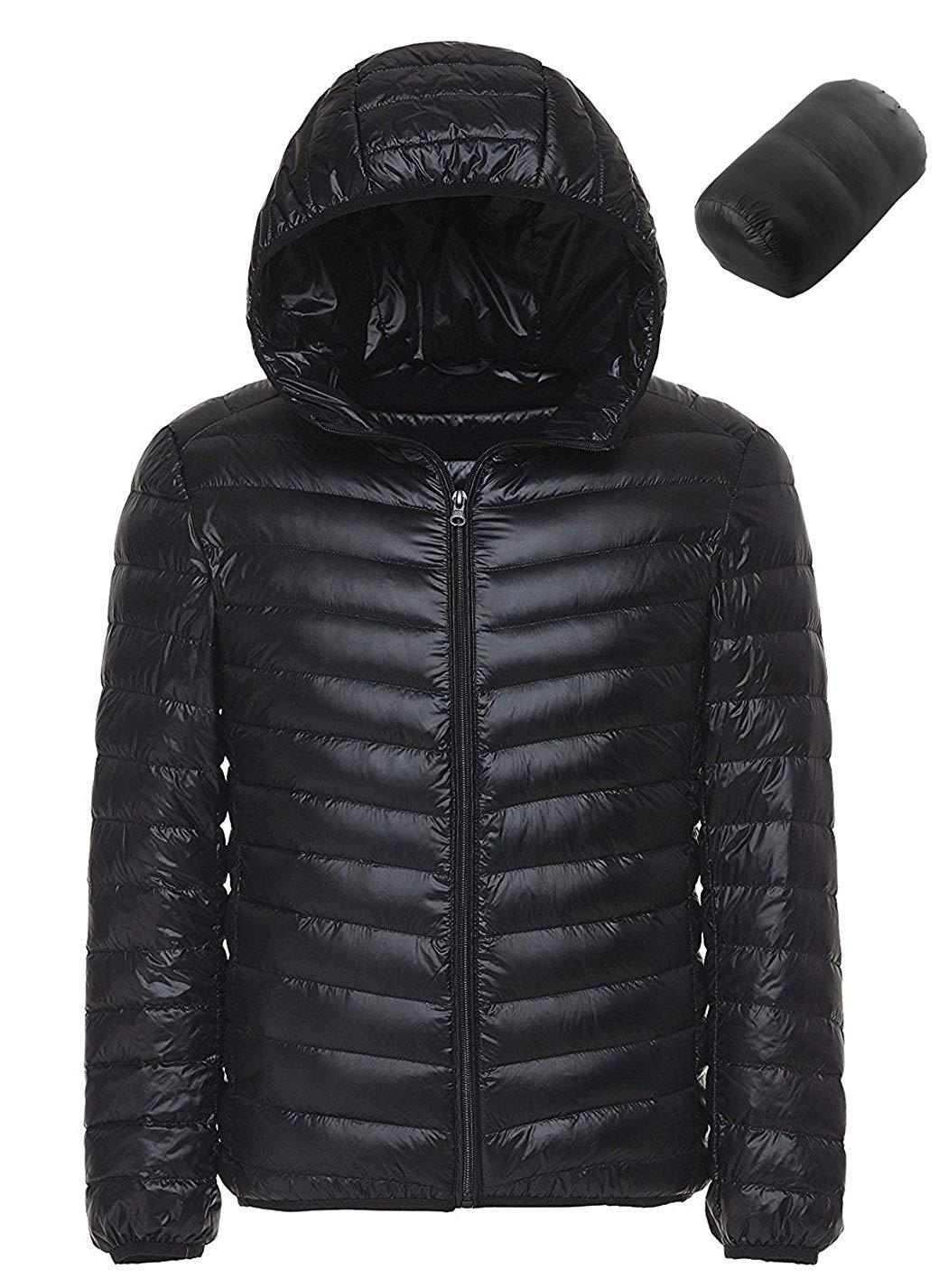 daa22b16191538 Get Quotations · Sawadikaa Men's Winter Hooded Packable Ultra Light Pillow Down  Puffer Jacket Coat Outdoor Quilted Lightweight Down